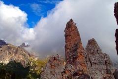Kurs wspinaczkowy w Dolomitach. W czasie instruktorskiej asysty na Torre Ingleze.